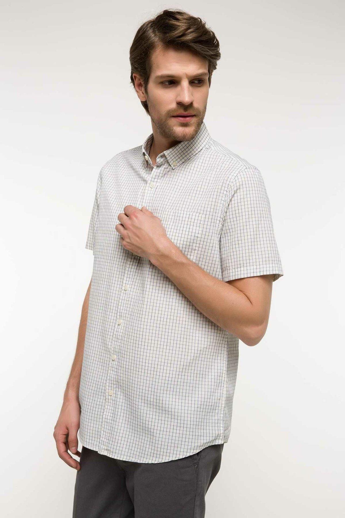 DeFacto Fashion Men Long Sleeve Plaid Shirt Male Casual Blouser Men's Loose Comfort Shirts Leisure Autumn New - I3604AZ18SM