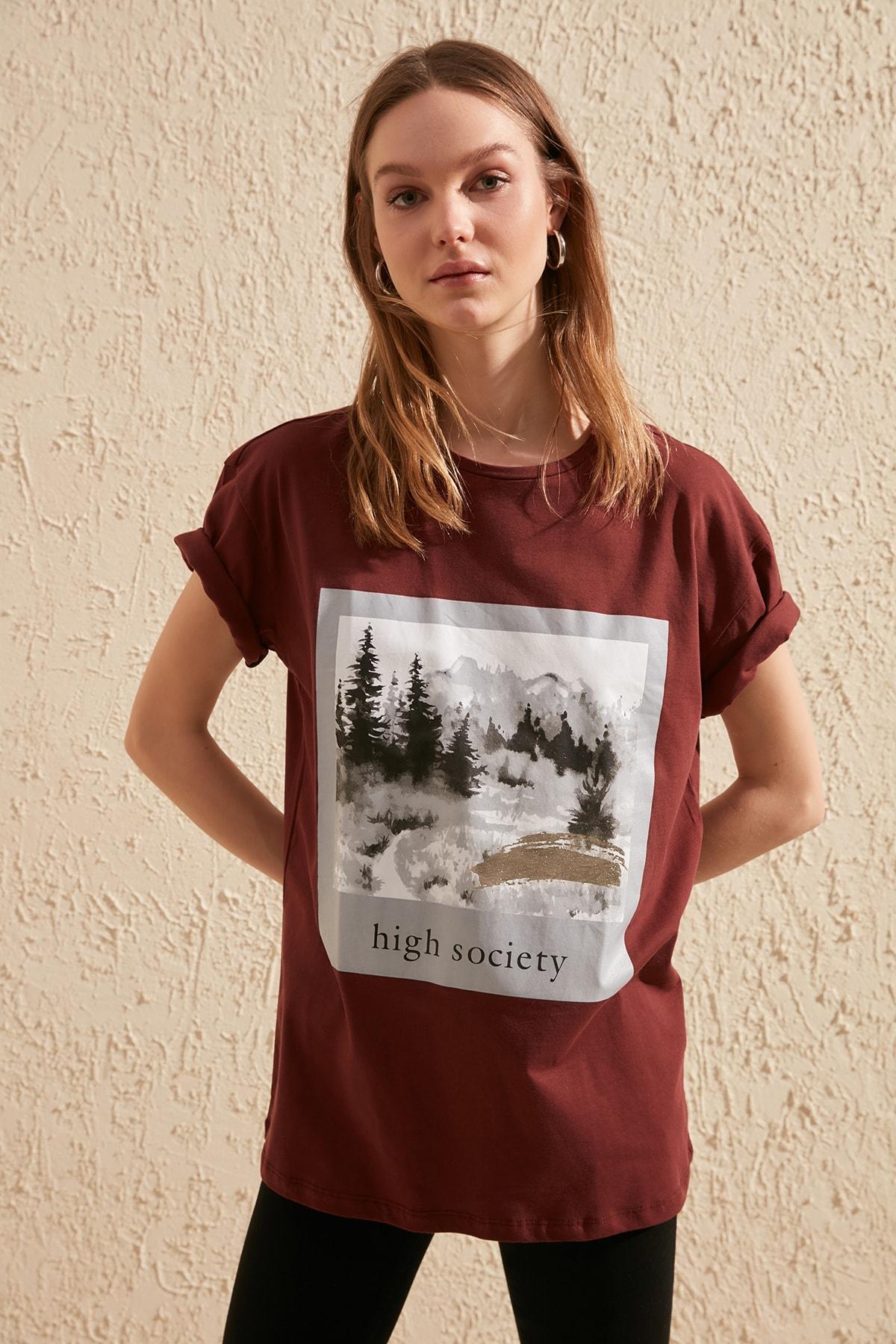 Trendyol Printed Boyfriend Knitted T-Shirt TWOSS20TS0265