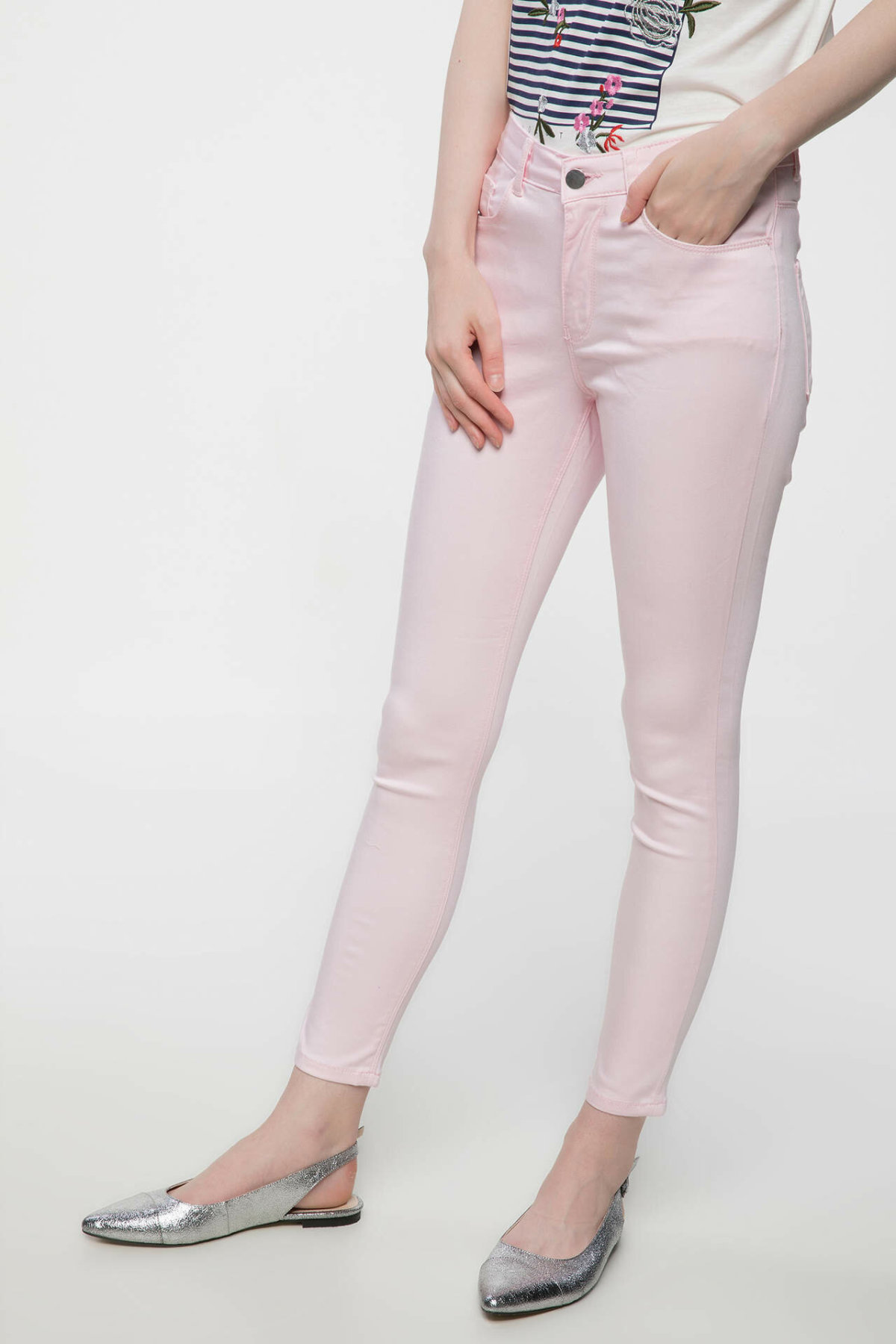 DeFacto Women Pink Color Skinny Trousers Women Long Pants Casual Fit Body Slim Bottoms Female Pant -J1722AZ18SM