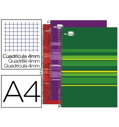 SPIRAL NOTEBOOK LEADERPAPER A4 MICRO CLASSIC LINED TOP 160 H 60 GR CUADRO4MM 5 S-BAND 4 DRILLS ASSORTED COLORS S