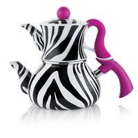 Conjunto de bule de chá schafer zebra-preto listrado | chá turco | aquecedor de água | bule de chá | chá quente
