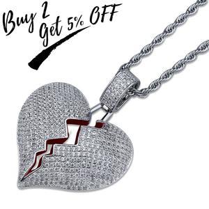 Image 2 - Buzlu Out kalp kolye & kolye 14mm genişlik büyük küba zincir altın gümüş renk kübik zirkon erkek kadın Hip hop takı