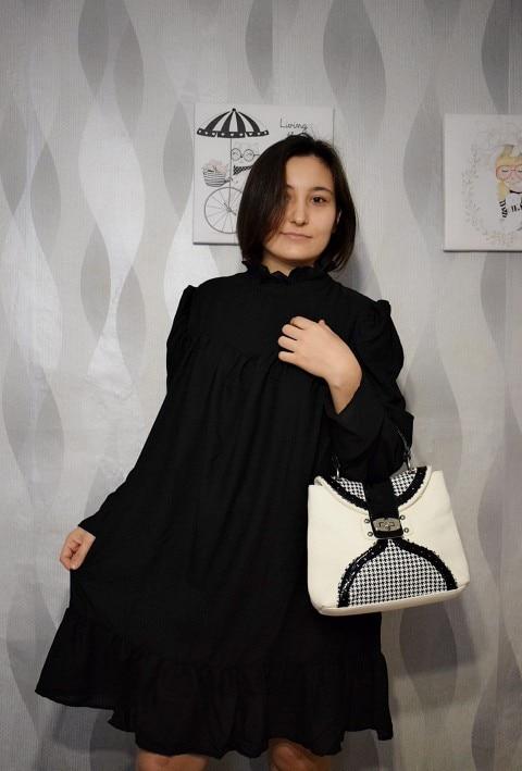 Hot 2019 autumn new fashion women's temperament commuter puff sleeve small high collar natural A word knee Chiffon dress reviews №1 342811