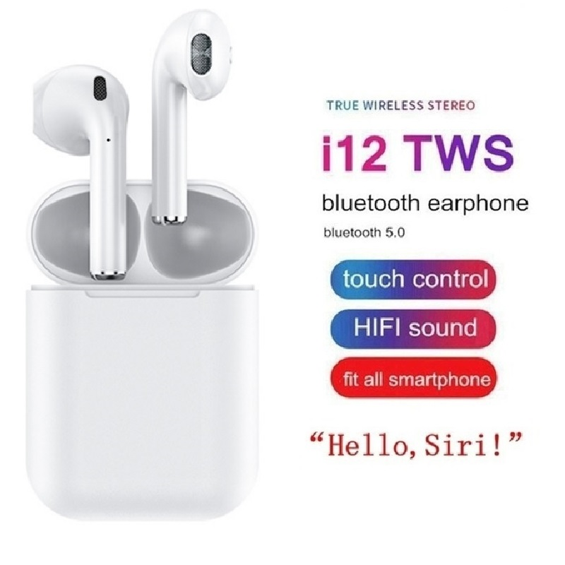 Bluetooth Headphones I12 Tws With Microphone Wireless Headphones For Sport Air Pods Box Blue