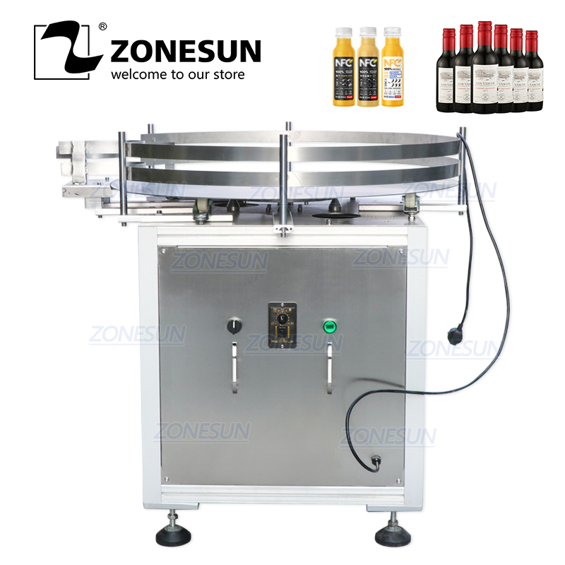 ZONESUN Automatic Round Rotating Plastic Glass Bottle Collecting Machine Food Packaging Sorting Turntable Machine For Unscramble