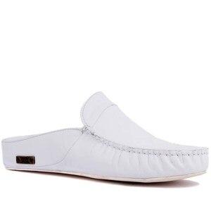 Image 2 - Sail Lakers/мужские тапочки на резиновой подошве из натуральной кожи; Тапочки на плоской подошве; Модные роскошные Лоферы без застежки; zapatos de mujer; женская обувь