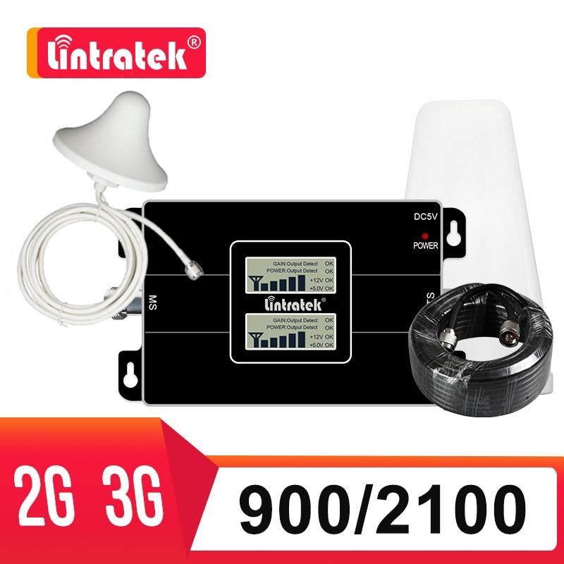 Lintratek GSM 900 2100mhz WCDMA komórkowy wzmacniacz 2G UMTS 3G Repeater 2100 900mhz telefon komórkowy wzmacniacz sygnału komórkowy pełny zestaw dj