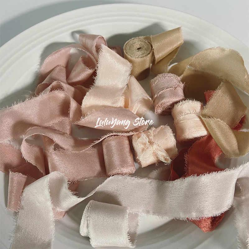 Apricot Peach Raw Edge Silk Ribbon,Hand Dyed natural ribbon,Modern Wedding invitation ribbon,wedding decor ribbon,raw edge ribbon,light pink