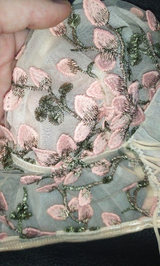 Ellolace Underwear Set Sexy Lingerie Transparent Bra Set Floral Embroidery Erotic Lingerie Lace Lace up Underwear Women Set photo review