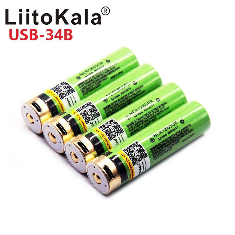 2019 LiitoKala USB 3.7V 18650 3400mAh Li-ion Bateria Recarregável USB Com Luz Indicadora de LED DC-Carregamento
