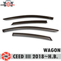 Window deflector for Kia Ceed III 2018~ WAGON rain deflector dirt protection car styling decoration accessories
