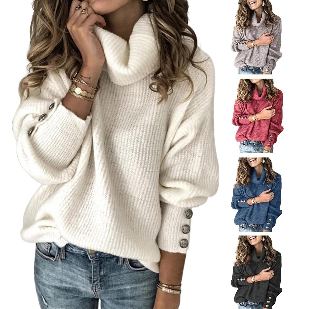 NEW Long Sleeve Sweater Women Turtleneck Winter Clothes Casual Button Pullover Blouse Plus Size Oversized Sweters Mujer 2020