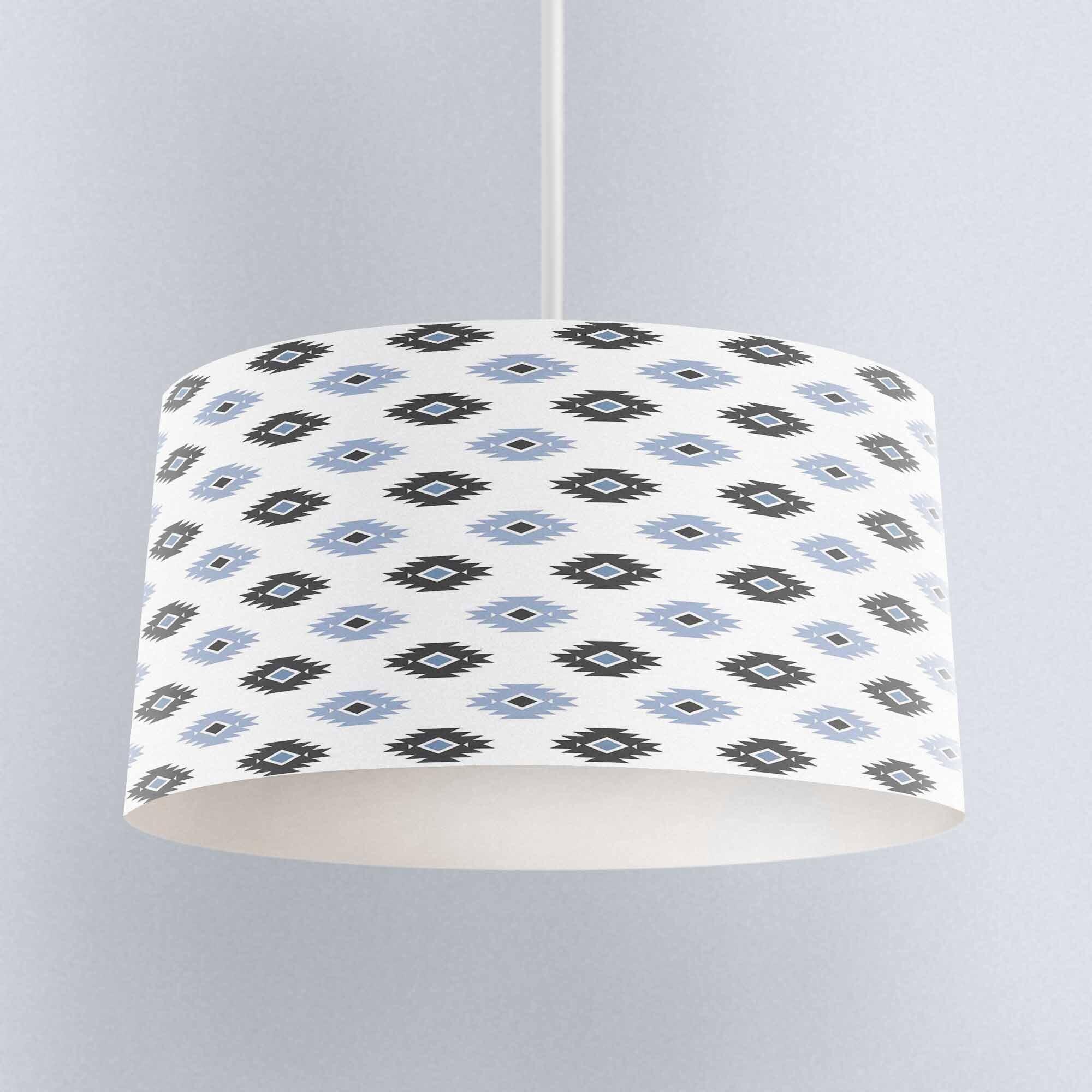 Else Gray Blue Bohemian Aztec GEometric Digital Printed Fabric Chandelier Lamp Drum Lampshade Floor Ceiling Pendant Light Shade