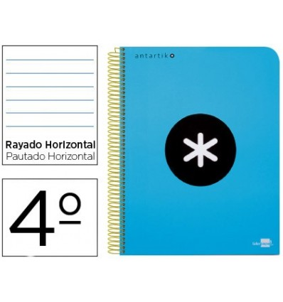 SPIRAL NOTEBOOK LEADERPAPER A5 ANTARTIK HARDCOVER 80H 100 GR HORIZONTAL MARGIN BLUE COLOR 3 Pcs