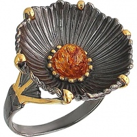 Esthete ring with silver Amber