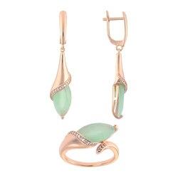 Бижутерия для женщин комплекты QSY под золото, серебро.Длинные висячие серьги-капли с камнями.Женское кольцо с зеленым цирконом