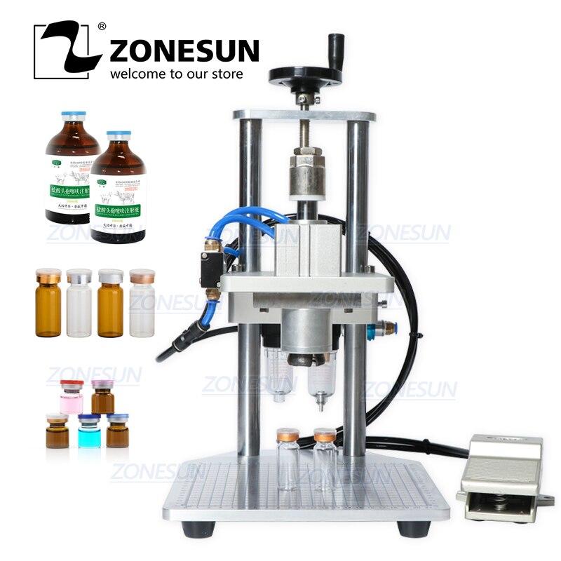 ZONESUN Pneumatic Oral Liquid Penicillin Antibiotic Injectable Bottle Capper Aluminum Plastic Glass Vial Crimper Capping Machine