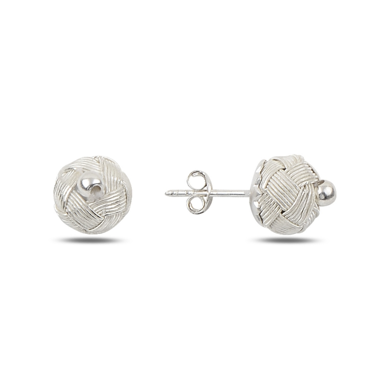 Silver 925 Sterling Kazaziye Hand Knitting Ball Earrings