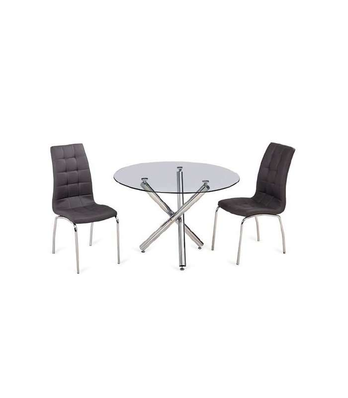Round Table Triana Glass Top And Chrome Legs 110 Cm.