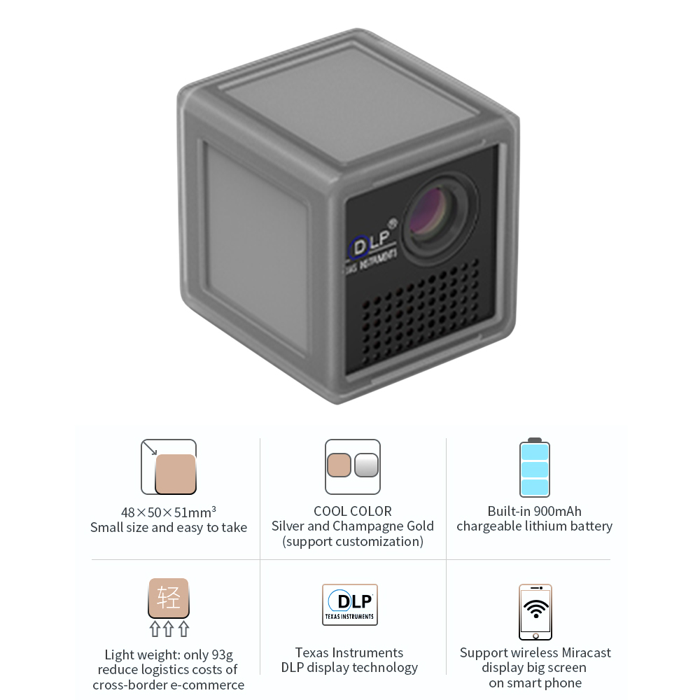 P1S Ultra HD Pocket Home Theater Projector Proyector Beamer Mini DLP Mini Projector With Wifi Built-in Same Screen Function image
