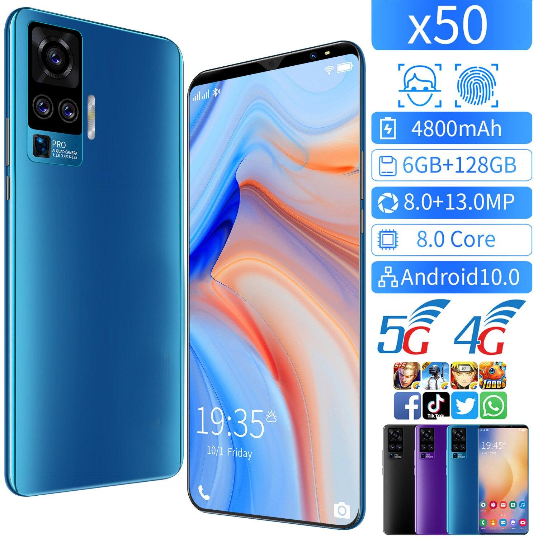 Глобальная версия X50 6 ГБ 128 5G смартфон 5,8 дюймов смарт-телефон MTK 6763 8,0 core подключается к сети 4g мобильные телефоны Android 10. Мобильного телефона