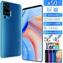Smartphone global da versão x50 6gb 128gb 5g telefone esperto de 5.8 polegadas mtk 6763 8.0 telefones celulares da rede do núcleo 4g android 10. celular