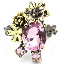 25x18mm Sublime Antique Vintage Pink Kunzite Gift For Girls Black Gold Silver Rings vintage long pink kunzite woman s wedding ladies 925 black gold silver pendant 50x28mm