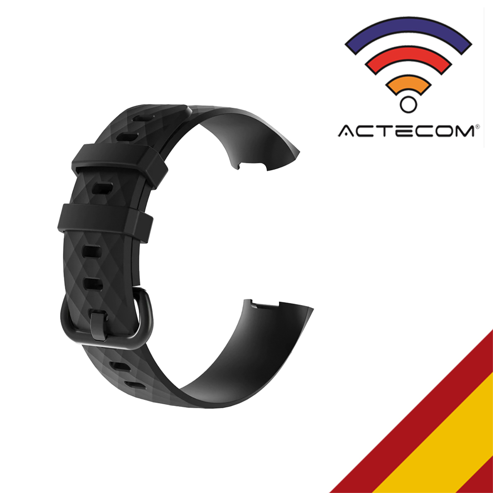 ACTECOM Correa De Reloj Para Fitbit Charge 3 Negra Pulsera Silicona Sof Calidad Pulseras De Reemplazo De Muñeca Fitbit Charge 3