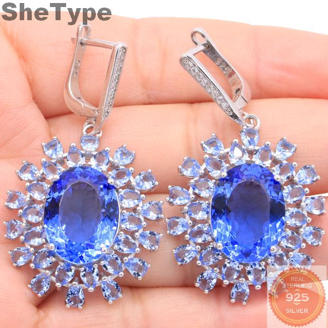 45x26mm Awesome Long Big Heavy 11.86g Created Violet Tanzanite CZ Gift For Woman's Party 925 Sterling Silver Earrings