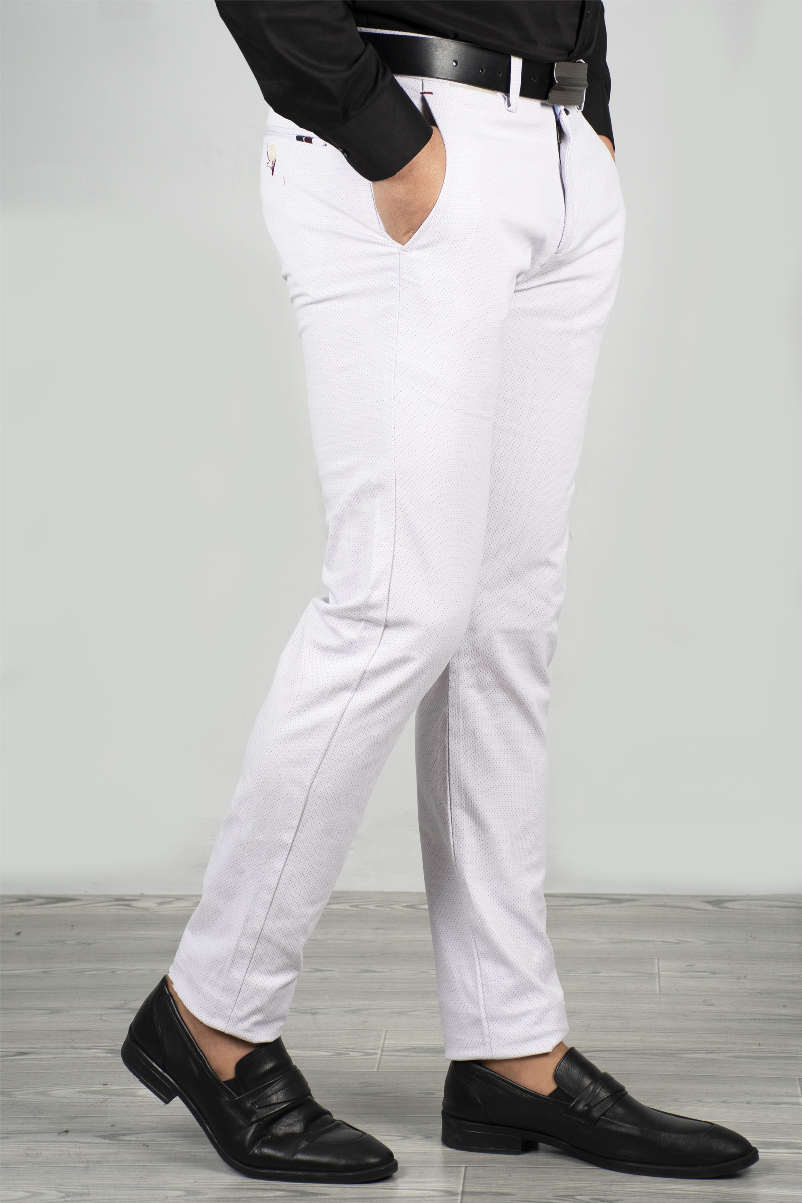 DeepSEA Men Ecru Suit Dress Pants Fabric Slim Fit Cotton Lycra Classic Italian Groom Wedding Business Formal Four Seasons 1805007
