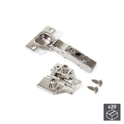 Lot of 20 hinges straight X91 Emuca with soft closing and supplements Euro regulation eccentric