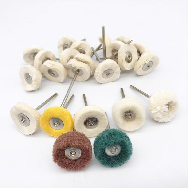 10Pcs Dental Laboratory Dentistry Odontologia Polishing Brush Wheel Rotary Tools 2.35mm HP Shank Wool Goat Cotton Black Buff