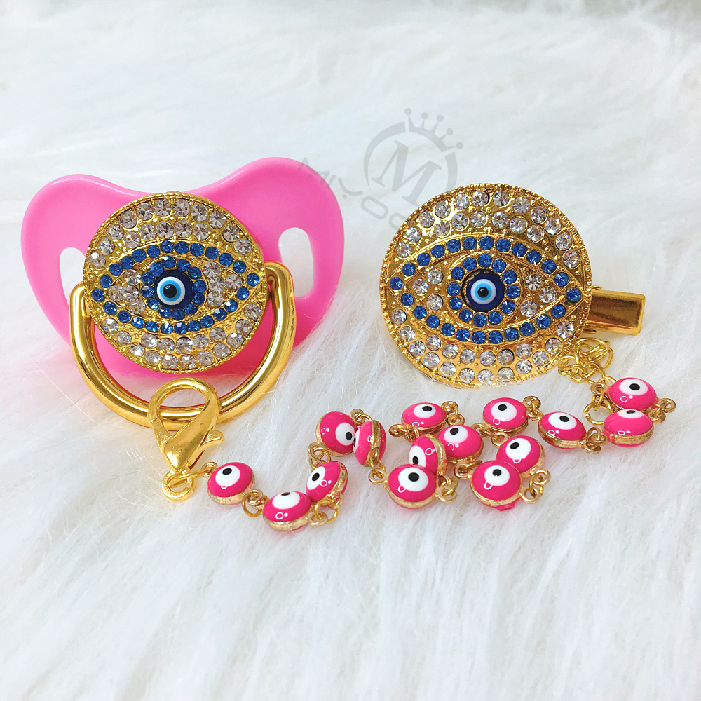 MIYOCAR Green Bling Pink Evil Eye Pacifier And Clip Set Pacifier Chain Holder Bling Lovely Evil Eye Pacifier AEYE-P