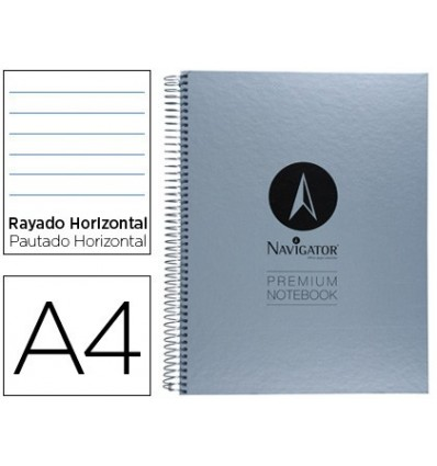 SPIRAL NOTEBOOK NAVIGATOR A4 MICRO LINED TOP 120H 90 HORIZONTAL WITHOUT BANDS 4 HOLES 9 Units