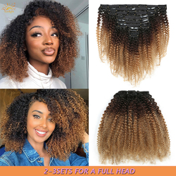 Mongolian Afro Kinky Curly Clip In Human Hair Extensions Ombre 1b/4/27 8 Pcs/Set Clips In Full Head Hair Extensions Remy Hair