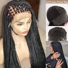 13*4 caja trenzado pelucas de encaje hecho a mano Micro trenzado de pelo sintético recto largo pelo trenzado pelucas con minimechones