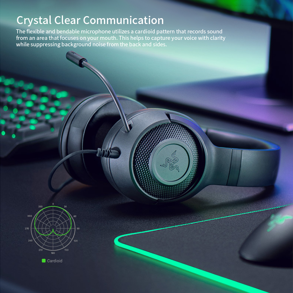 Razer Kraken X Ultralight Headphone Noise Over-Ear wired Gaming Headset Analog 3.5 mm jack 7.1 Surround Sound with Mic, Xbox,PS4 4