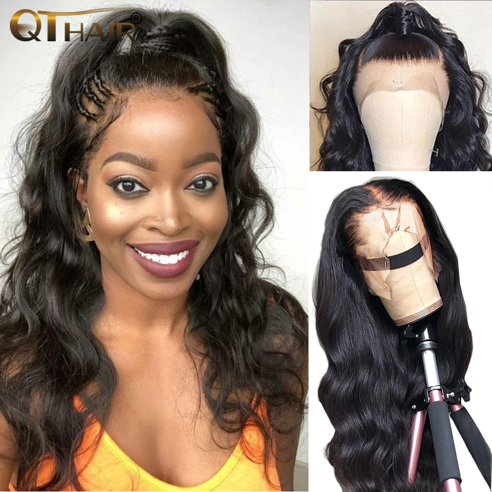 QT Body Wave 360 Lace Frontal Wig Pre Plucked With Baby Hair Brazilian Remy 13x4 Lace