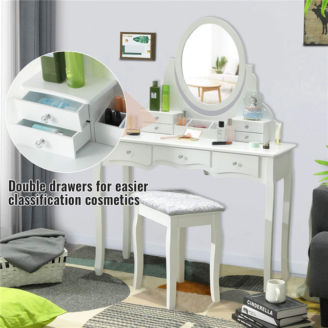 Dressing Table Set with 7 Drawers and 1 Movable Storage Box Wood Makeup Vanity Table Stool with 360° Rotating Oval Mirror White 5