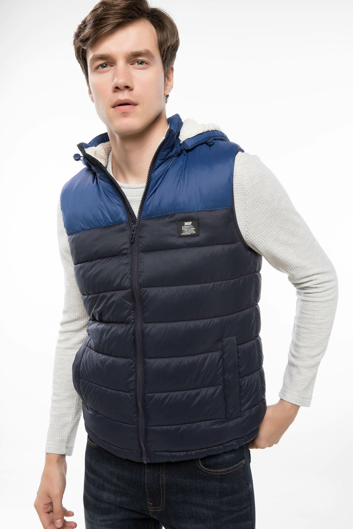 DeFacto Casual Hooded Thicken Man Vest Zipper Striped Patchwork Waistcoat Male High Quality Warm Vest Mens - I9113AZ18WN