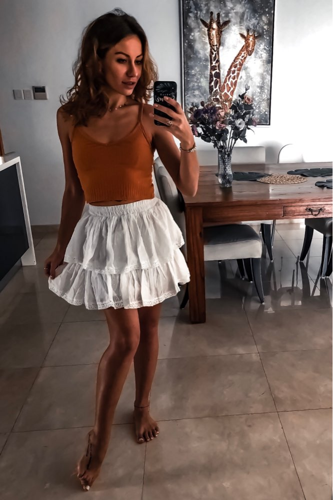 White Autumn Party Skirt Ruffle Women Polka Dot Casual Chic Winter Skirt Sexy Girl Elastic Holiday Boho Short Skirts photo review