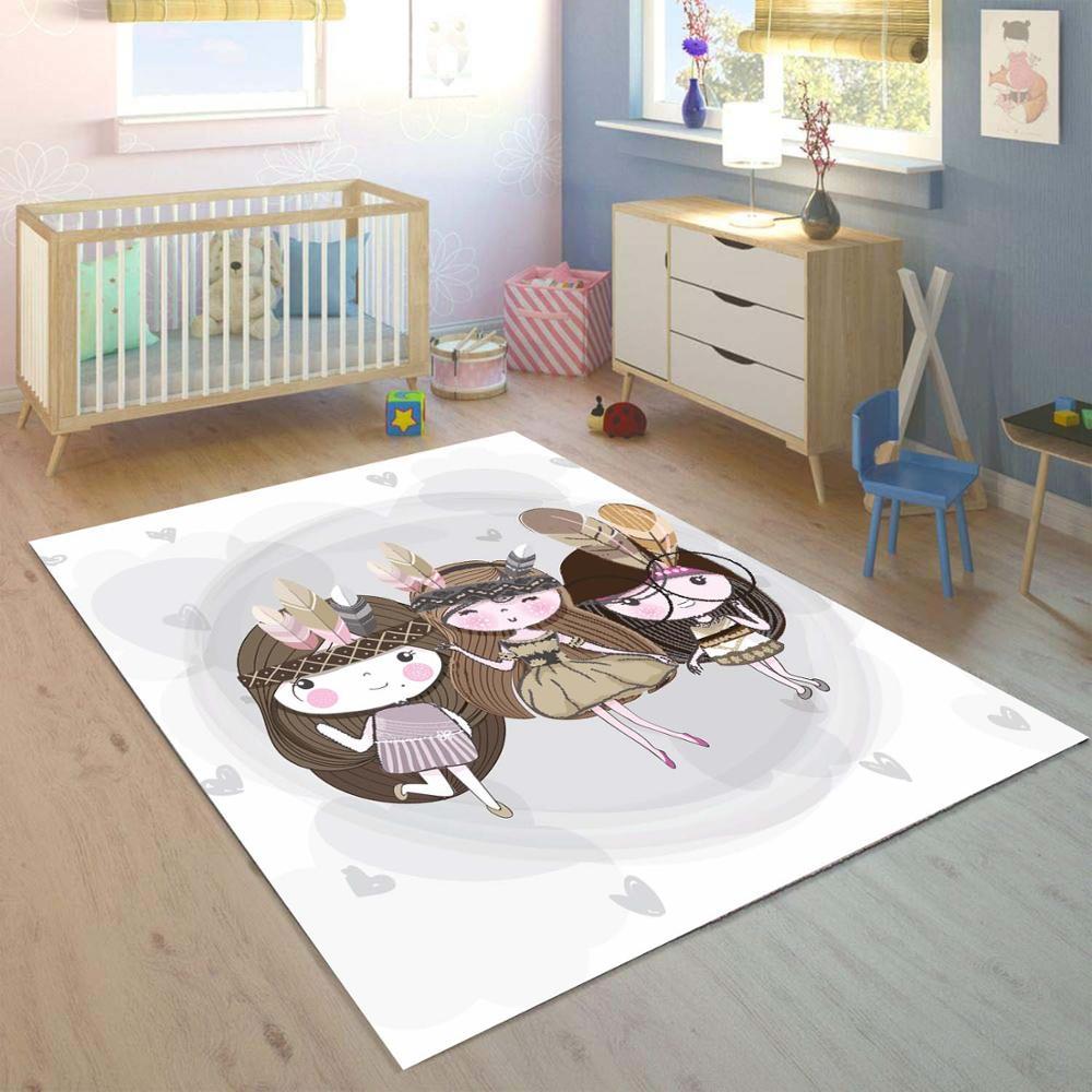 Else Little Gray Cute Girls Bohemian 3d Print Non Slip Microfiber Children Kids Room Decorative Area Rug Kids  Mat