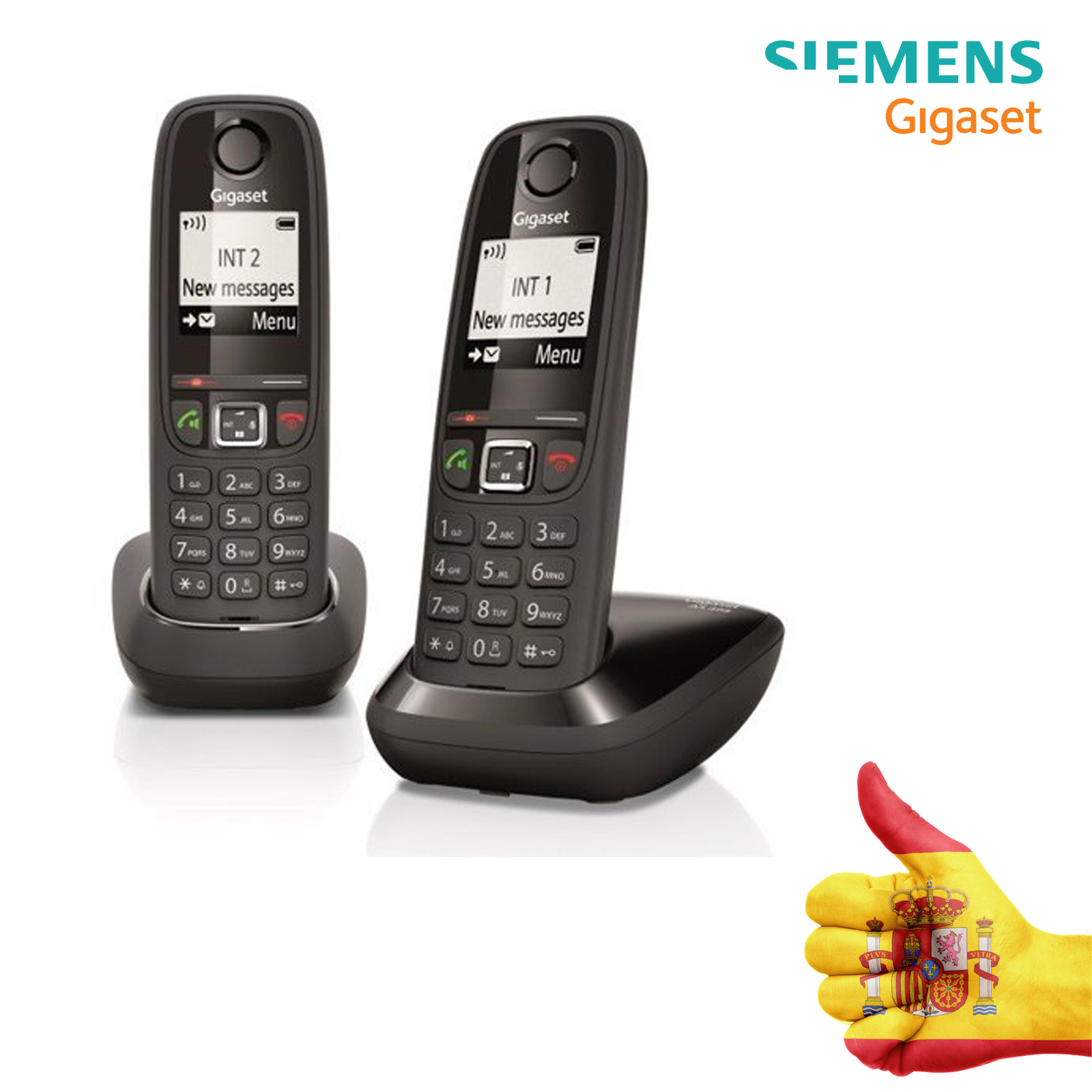 Cordless Phone DUO, Handsfree, Gigaset, 100 Contacts, Graphics Screen Illuminated 1.8