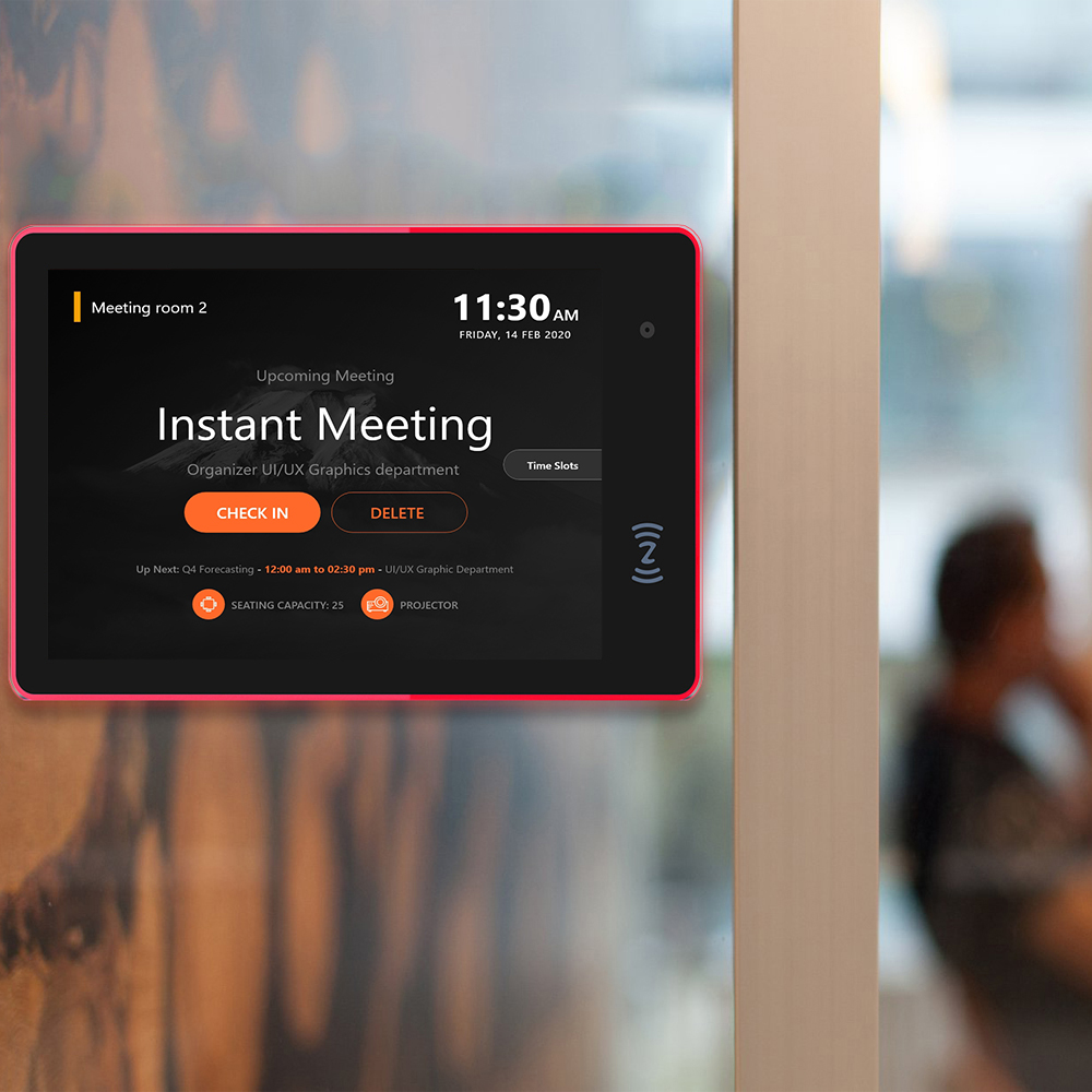 Updated-10.1 inch PoE Android tablet pc with LED bar-Multi-color-NFC for conference meeting room schedule display open source