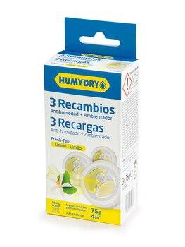 HUMYDRY Recambios Antihumedad Mini Tab pack de 3 de 75g aroma Limón. Aptos para deshumidificador Humydry Duplo de 75g.