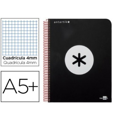 SPIRAL NOTEBOOK LEADERPAPER A5 ANTARTIK HARDCOVER 80H 100 GR TABLE 5MM MARGIN COLOR BLACK