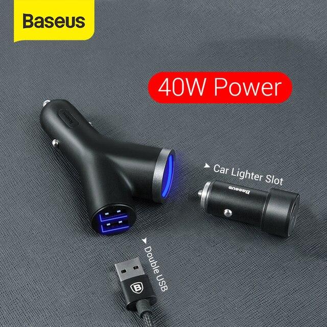 Baseus 40W chargeur de voiture pour téléphone portable universel double USB voiture allume cigare fente pour tablette GPS 3 appareils voiture chargeur de téléphone