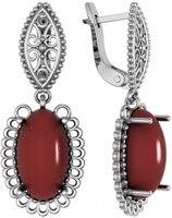 Volga jeweler earrings with 2 carnelian Silver