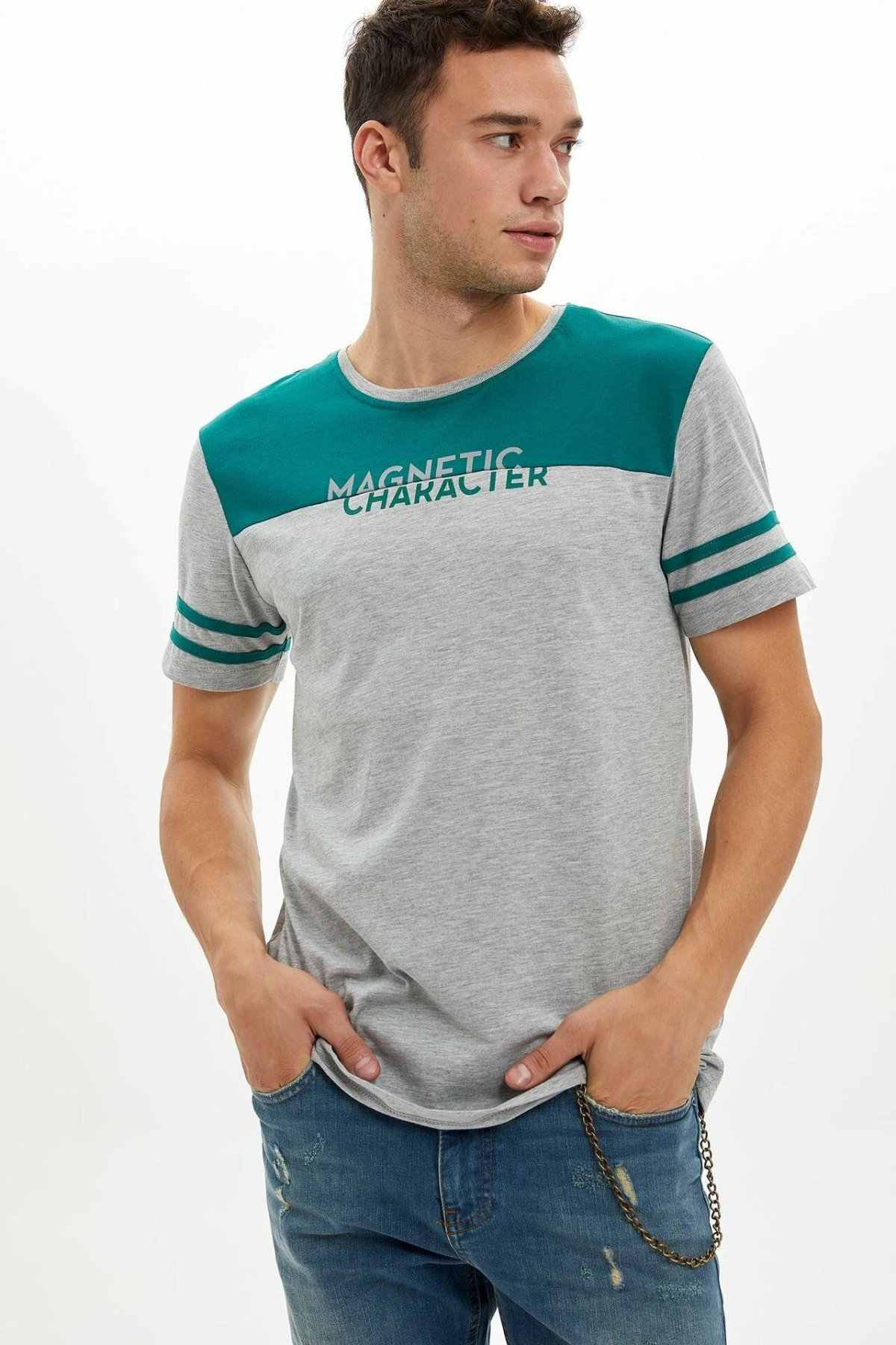 DeFacto/модные мужские Лоскутные Повседневные футболки с буквенным дизайном, трикотажные хлопковые футболки, топы с короткими рукавами, новинка-K8910AZ19A
