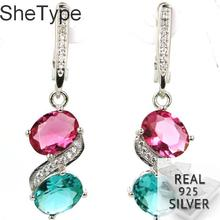 40x10mm Luxury 5.4g Pink Tourmaline Aquamarine CZ Real 925 Solid Sterling Silver Earrings
